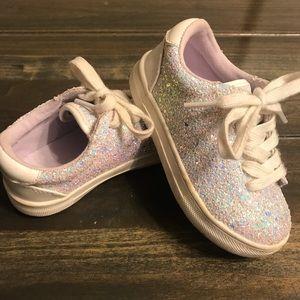 Toddler Girls White Sparkle Sneakers